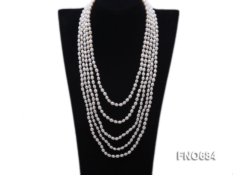 120 inches 6x7mm rice shape freshwater cultured pearl necklace big Image 1