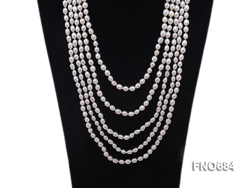 120 inches 6x7mm rice shape freshwater cultured pearl necklace big Image 2