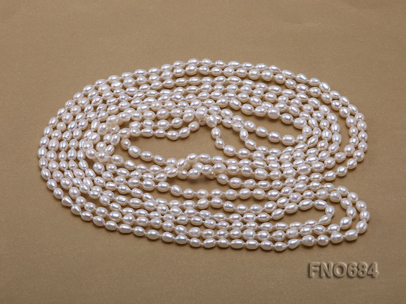120 inches 6x7mm rice shape freshwater cultured pearl necklace big Image 3