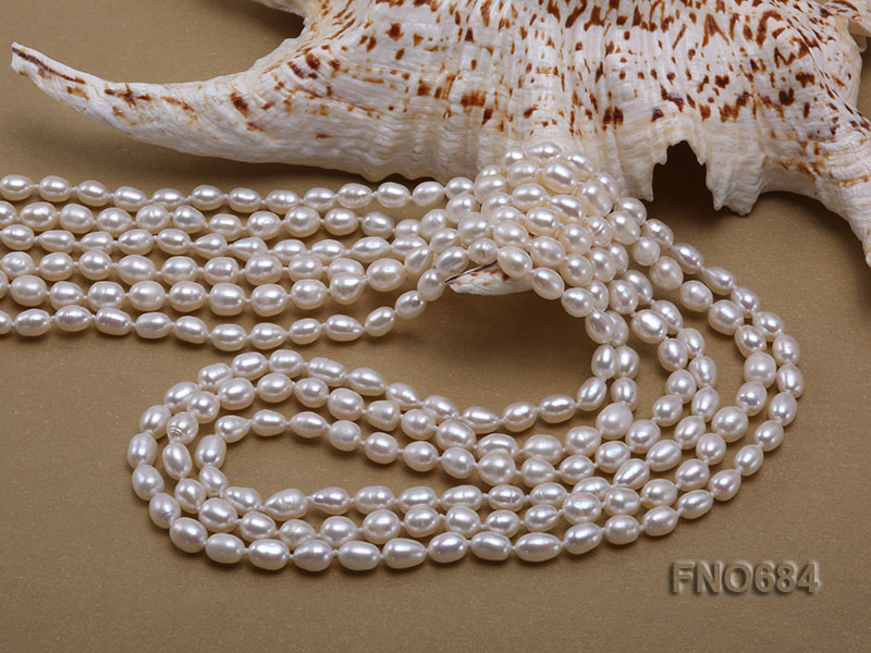 120 inches 6x7mm rice shape freshwater cultured pearl necklace big Image 4