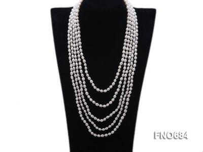 120 inches 6x7mm rice shape freshwater cultured pearl necklace FN0684 Image 1