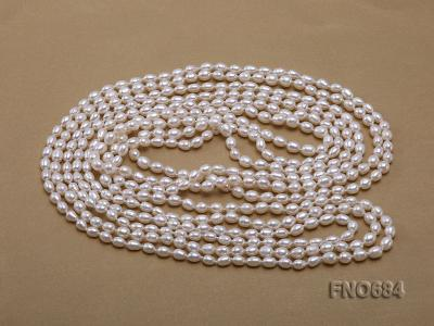 120 inches 6x7mm rice shape freshwater cultured pearl necklace FN0684 Image 3