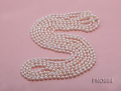 120 inches 6x7mm rice shape freshwater cultured pearl necklace FN0684 Image 5