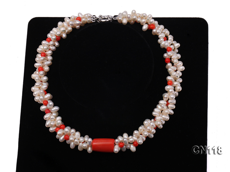 6-6.5 Rice-Shaped White Pearl and Red Coral Necklace big Image 6