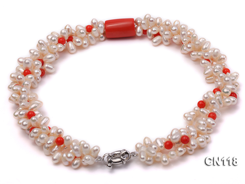 6-6.5 Rice-Shaped White Pearl and Red Coral Necklace big Image 1