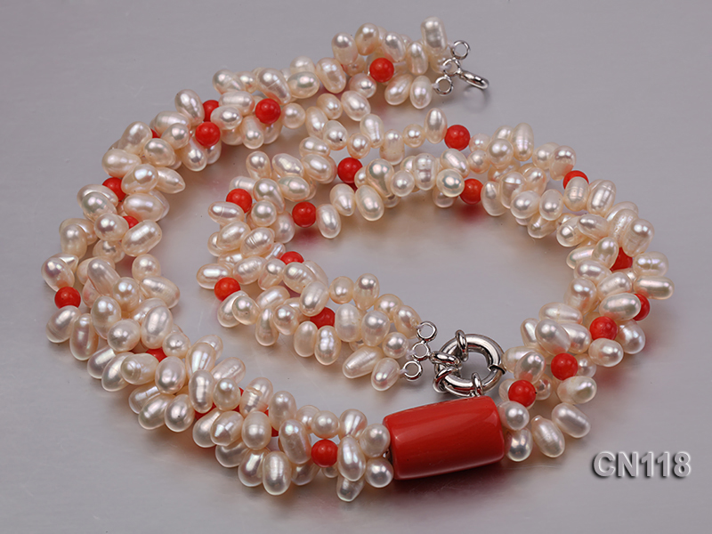 6-6.5 Rice-Shaped White Pearl and Red Coral Necklace big Image 2