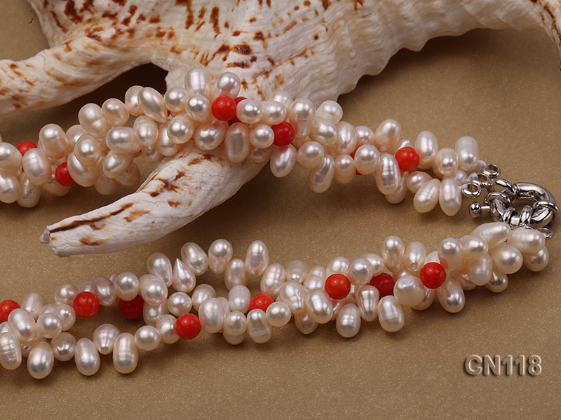 6-6.5 Rice-Shaped White Pearl and Red Coral Necklace big Image 3