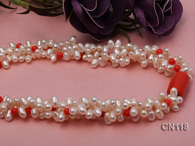 6-6.5 Rice-Shaped White Pearl and Red Coral Necklace big Image 7