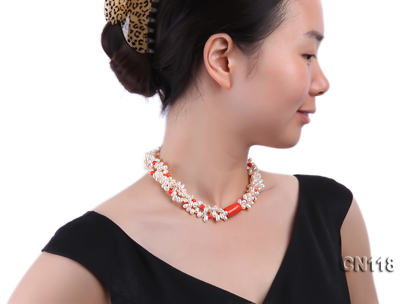 6-6.5 Rice-Shaped White Pearl and Red Coral Necklace big Image 4