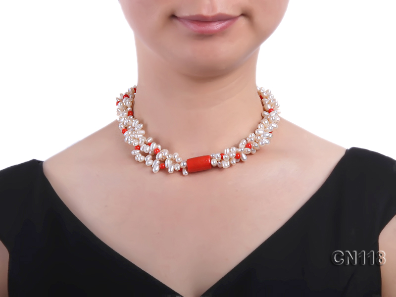 6-6.5 Rice-Shaped White Pearl and Red Coral Necklace big Image 5