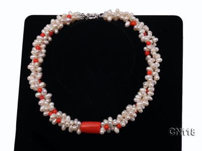 6-6.5 Rice-Shaped White Pearl and Red Coral Necklace CN118 Image 6