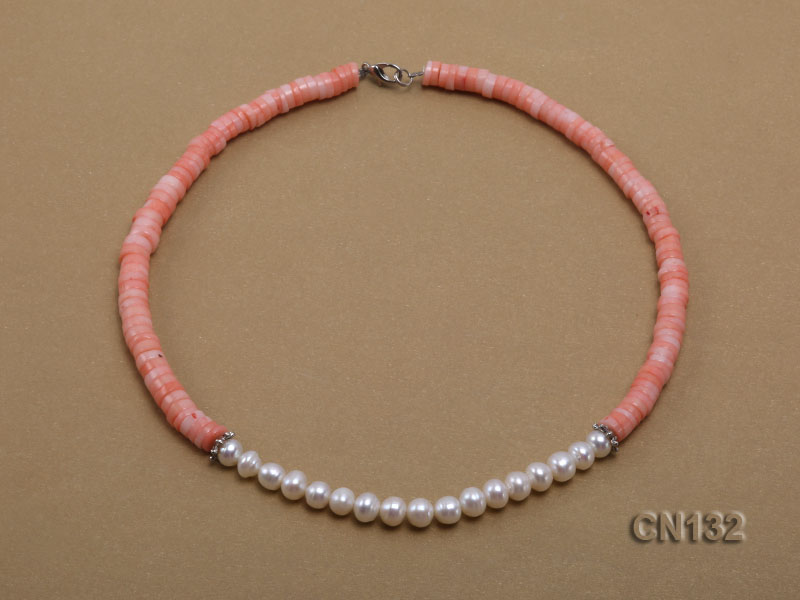 7-8mm Wheel-Shaped Pink Coral and White Pearl Necklace big Image 2