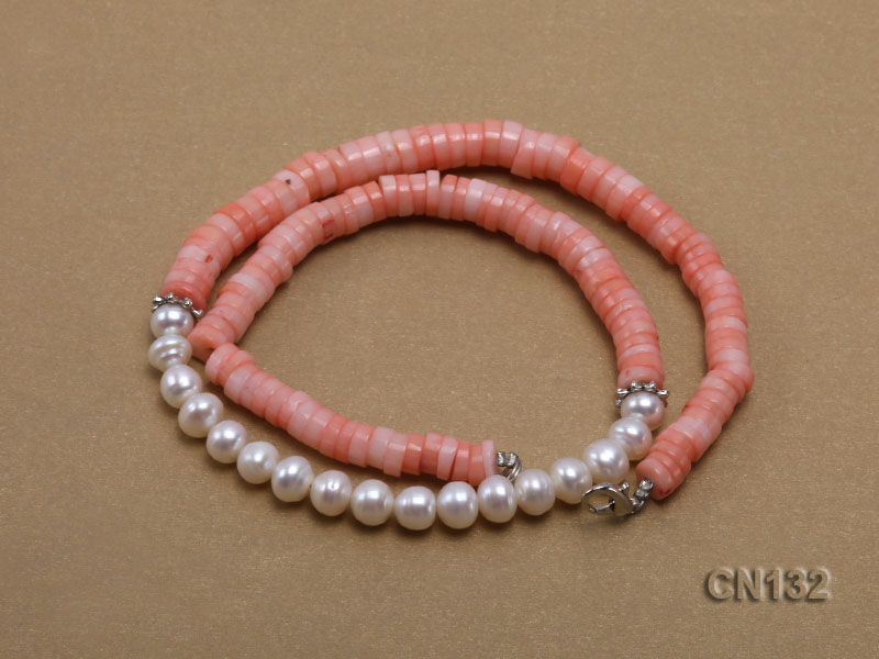 7-8mm Wheel-Shaped Pink Coral and White Pearl Necklace big Image 3