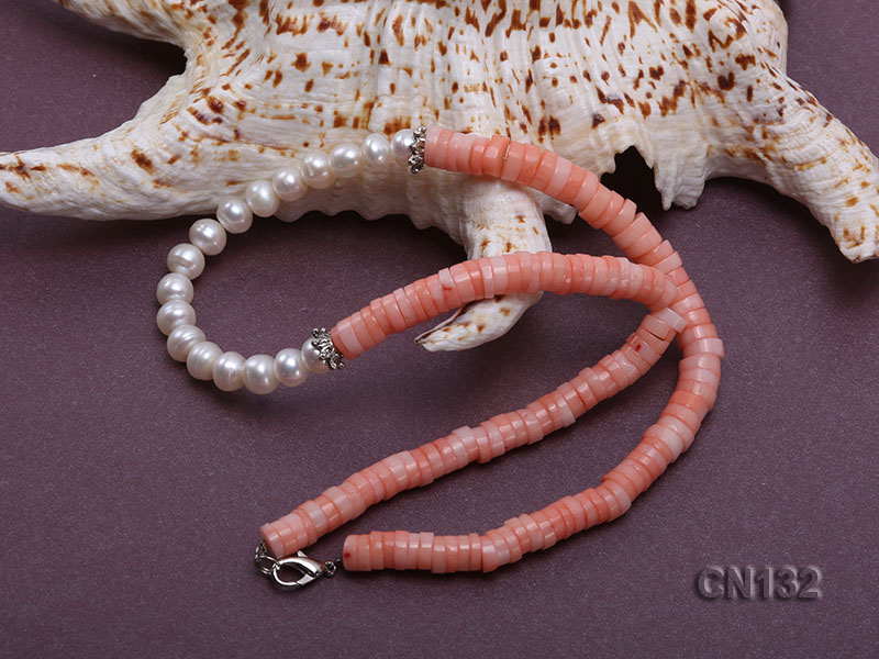 7-8mm Wheel-Shaped Pink Coral and White Pearl Necklace big Image 4