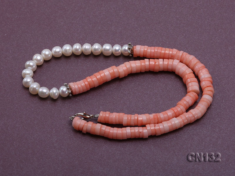 7-8mm Wheel-Shaped Pink Coral and White Pearl Necklace big Image 5