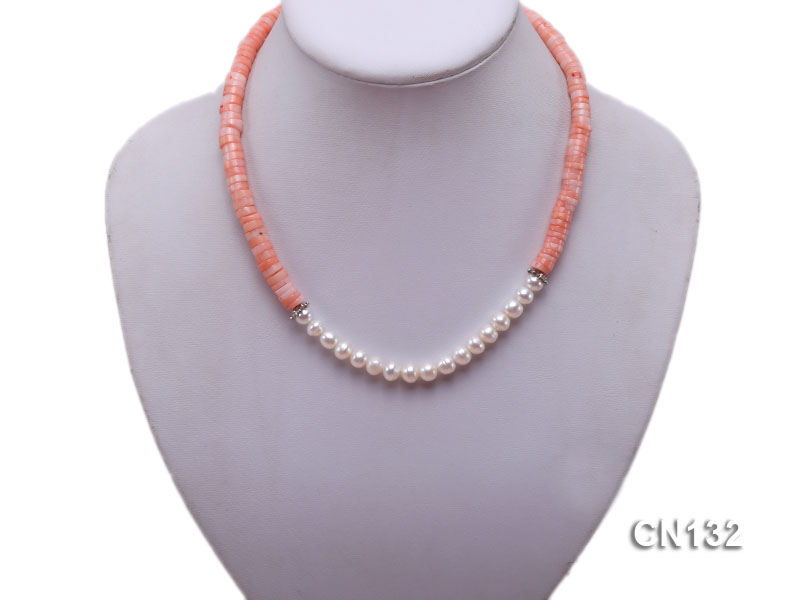 7-8mm Wheel-Shaped Pink Coral and White Pearl Necklace big Image 6