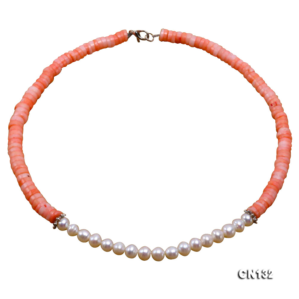 7-8mm Wheel-Shaped Pink Coral and White Pearl Necklace big Image 1