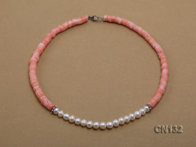 7-8mm Wheel-Shaped Pink Coral and White Pearl Necklace CN132 Image 2