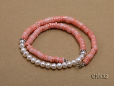 7-8mm Wheel-Shaped Pink Coral and White Pearl Necklace CN132 Image 3