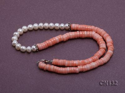 7-8mm Wheel-Shaped Pink Coral and White Pearl Necklace CN132 Image 5