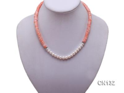 7-8mm Wheel-Shaped Pink Coral and White Pearl Necklace CN132 Image 6