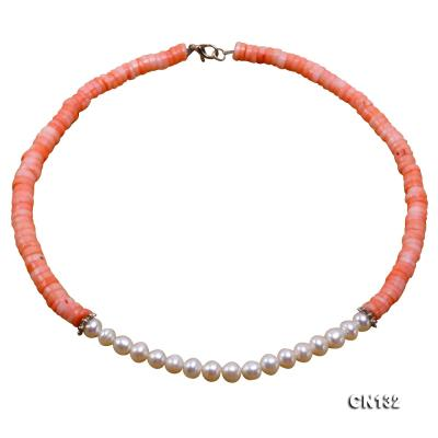 7-8mm Wheel-Shaped Pink Coral and White Pearl Necklace CN132 Image 1