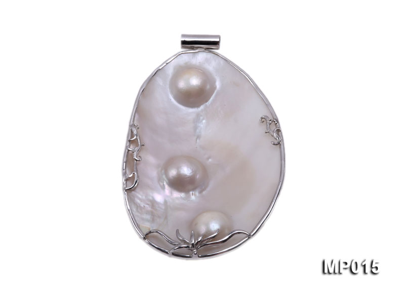 75mm mabe pearl pendant with sterling silver big Image 1