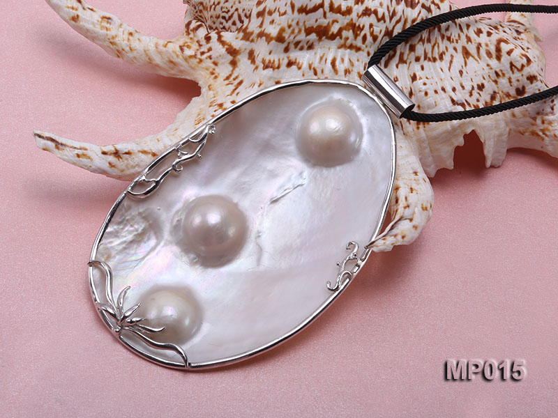 75mm mabe pearl pendant with sterling silver big Image 4