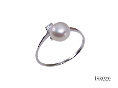 7.5mm white freshwater pearl ring FR026 Image 1