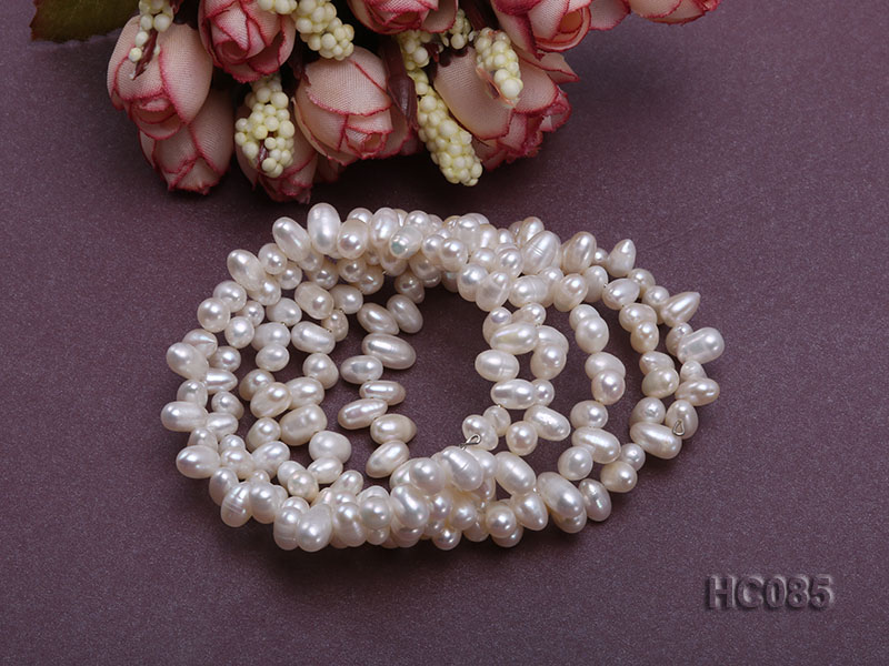 5 strand 5x7mm side-drilled white freshwater pearl bracelet big Image 3