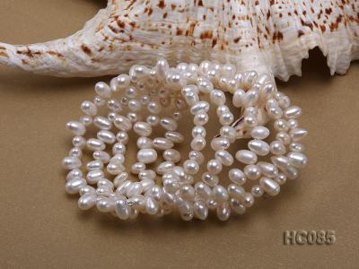 5 strand 5x7mm side-drilled white freshwater pearl bracelet HC085 Image 2