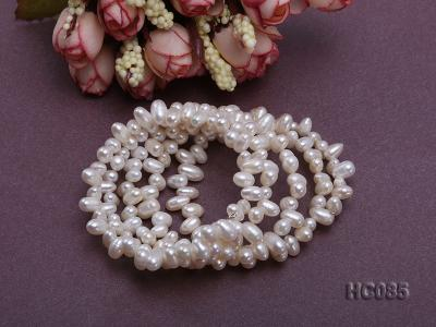 5 strand 5x7mm side-drilled white freshwater pearl bracelet HC085 Image 3
