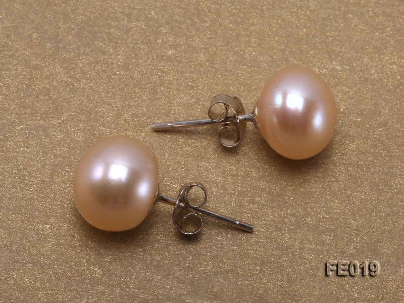9mm Pink Flat Cultured Freshwater Pearl Earrings big Image 3