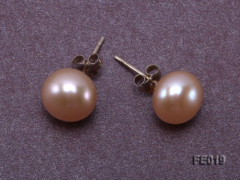9mm Pink Flat Cultured Freshwater Pearl Earrings big Image 4
