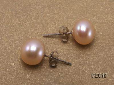 9mm Pink Flat Cultured Freshwater Pearl Earrings FE019 Image 3