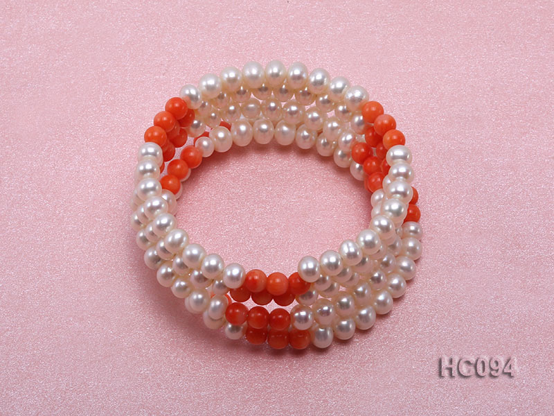 5 strand 5.5mm white freshwater pearl and coral bracelet big Image 1