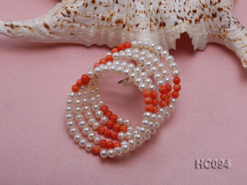 5 strand 5.5mm white freshwater pearl and coral bracelet big Image 2