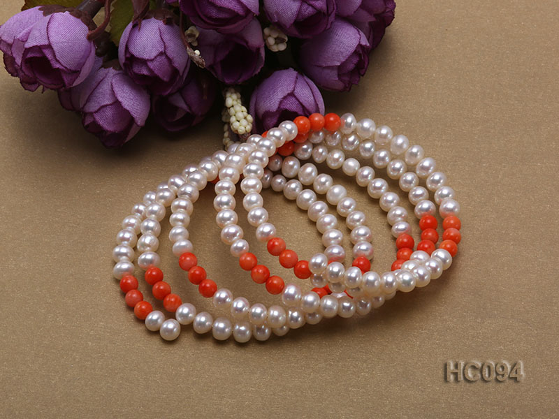 5 strand 5.5mm white freshwater pearl and coral bracelet big Image 3