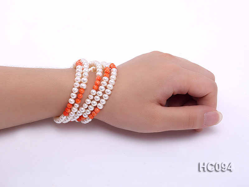 5 strand 5.5mm white freshwater pearl and coral bracelet big Image 5