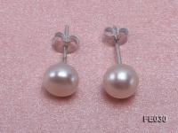 7.5mm White Flat Cultured Freshwater Pearl Earrings FE030