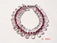red natural garnet and transparent crystal bracelet GH003