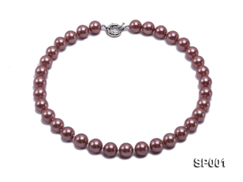12mm mauve round seashell pearl necklace big Image 1