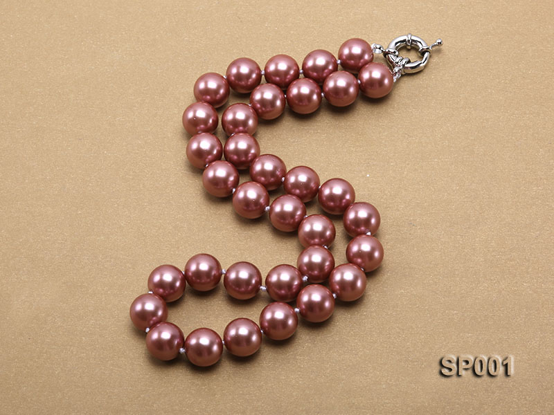 12mm mauve round seashell pearl necklace big Image 2