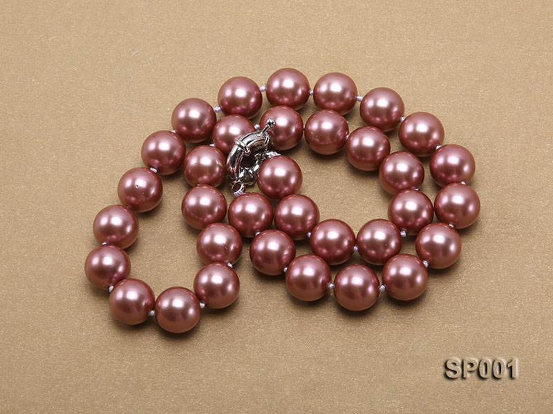 12mm mauve round seashell pearl necklace big Image 3