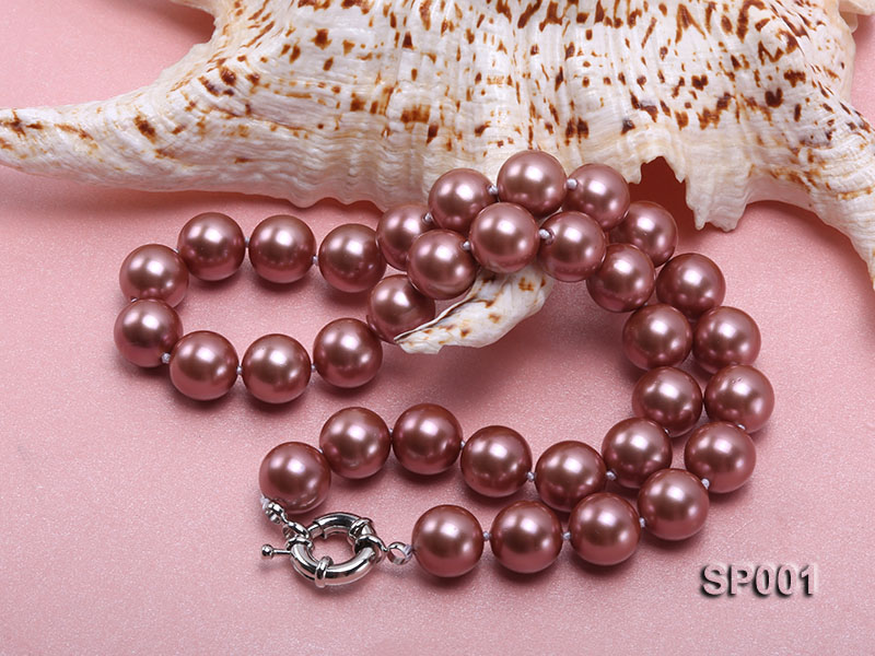 12mm mauve round seashell pearl necklace big Image 4