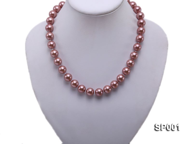 12mm mauve round seashell pearl necklace big Image 5