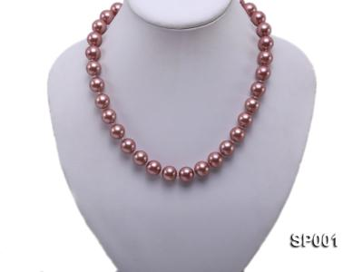 12mm mauve round seashell pearl necklace SP001 Image 5