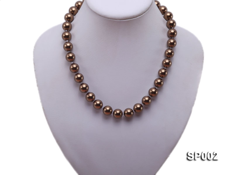 12mm bronze round seashell pearl necklace big Image 5