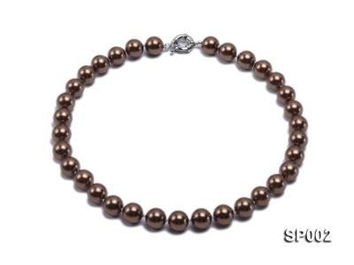 12mm bronze round seashell pearl necklace SP002 Image 1