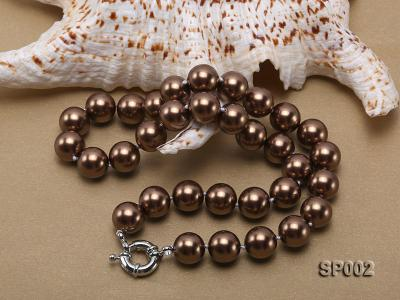 12mm bronze round seashell pearl necklace SP002 Image 4